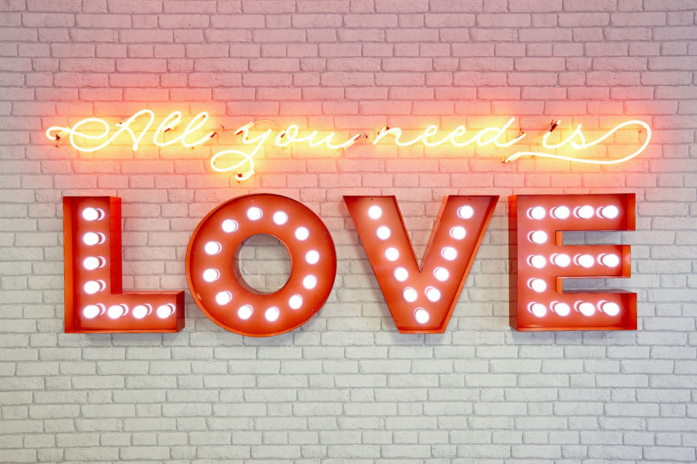 Custom 'All You Need Is Love' illuminated feature signage Project:  LILA* London