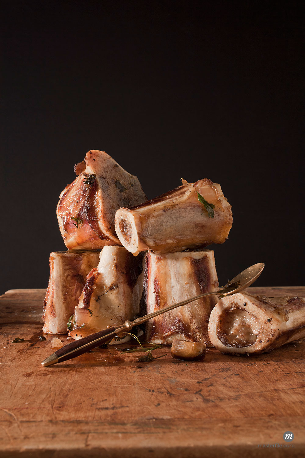 Still Life of Cooked Beef Marrow Bones  ©  Jennifer Burrell / Masterfile