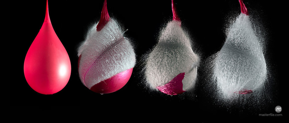 Sequence of Explosion of Balloon Full of Water, Studio Shot © Jose Luis Stephens / Masterfile
