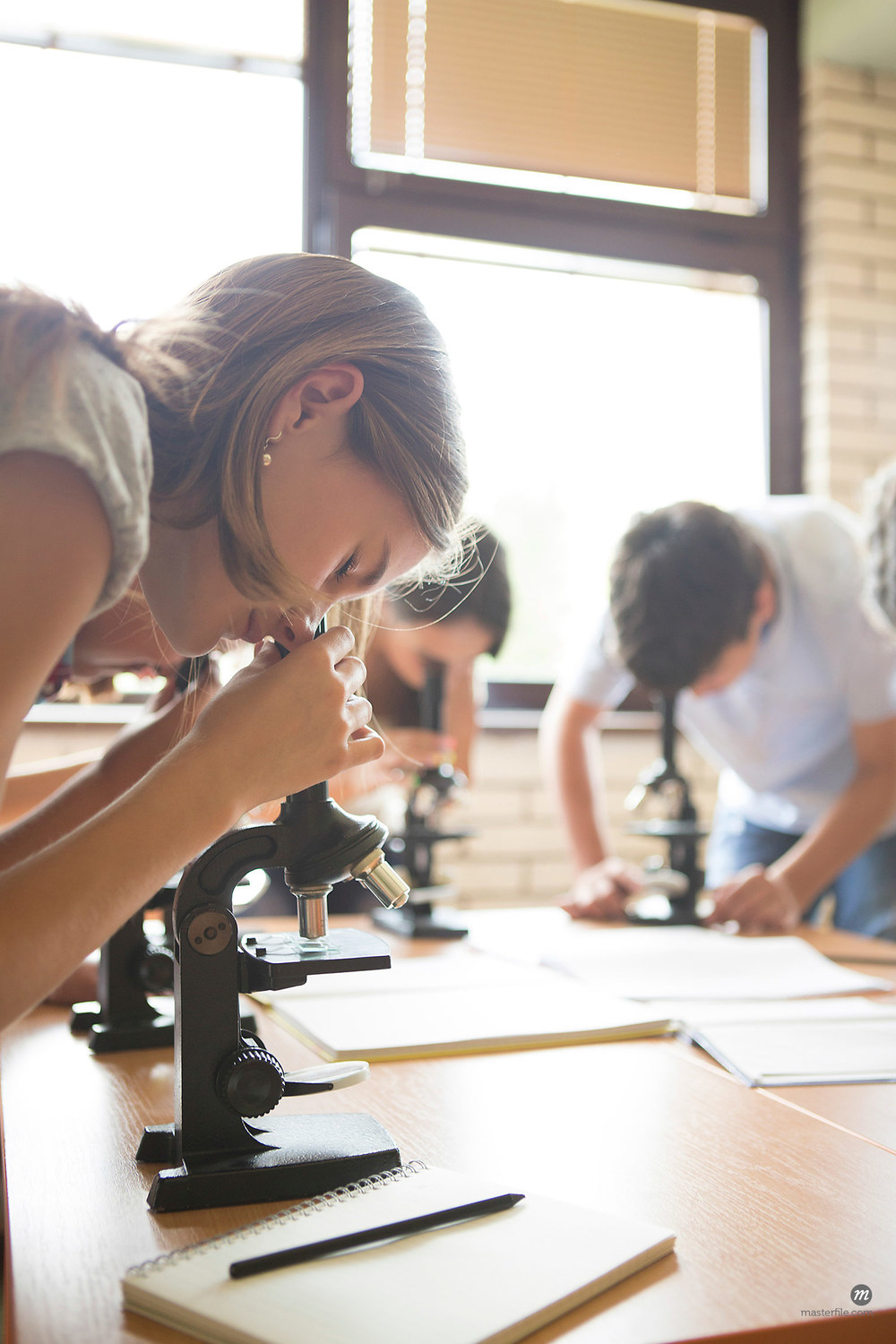 Students using microscopes in science class © Masterfile