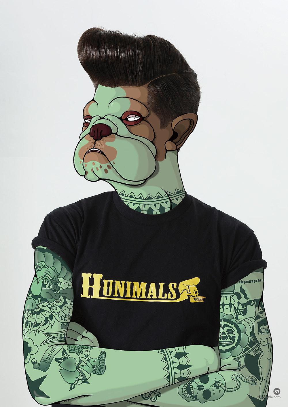 Man with tattoos and bulldog face © Ikon Images / Masterfile