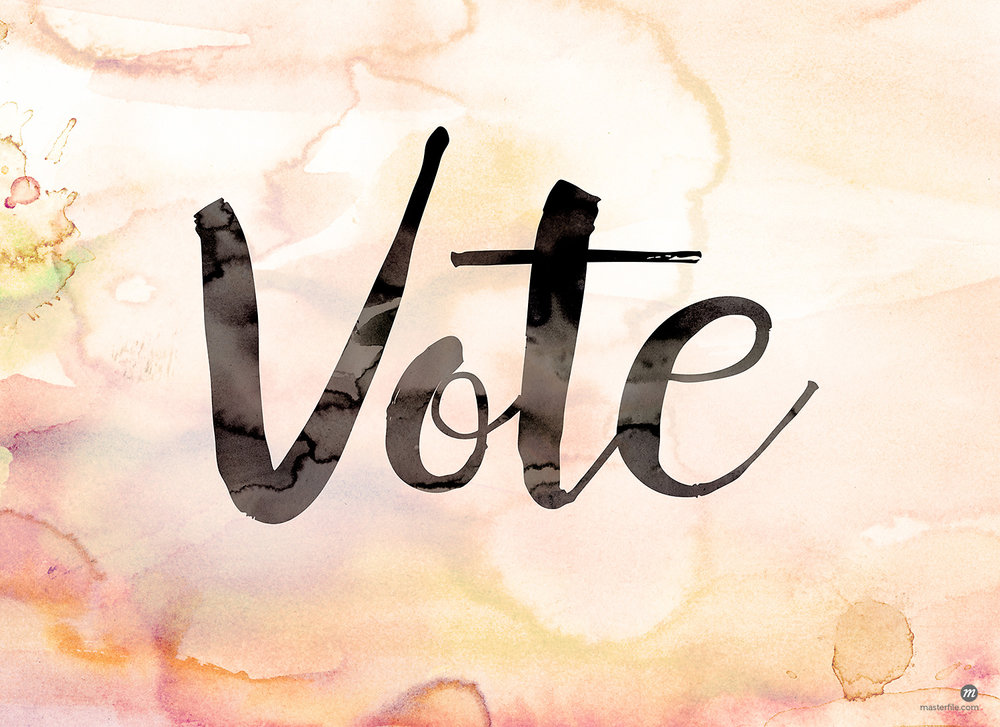 "The word ""Vote"" in black script on a watercolor background © enterlinedesign / Masterfile"