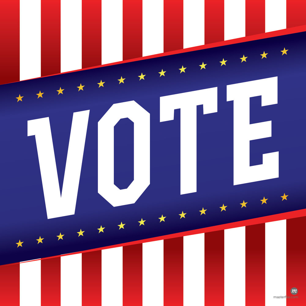 "The word ""Vote"" over patriotic American election background © enterlinedesign / Masterfile"