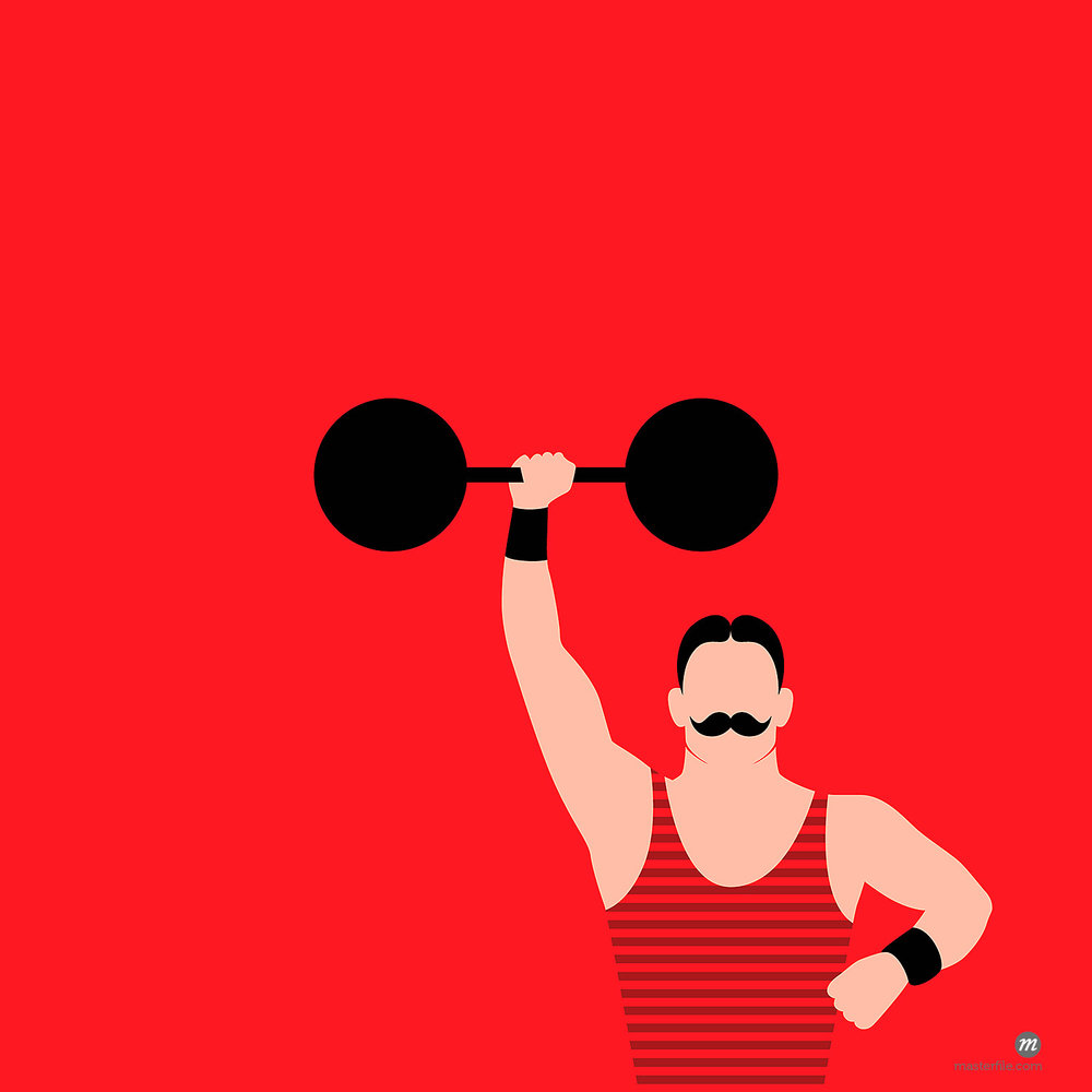 Illustration of vintage strongman with mustache holding barbell over head © Ikon Images / Masterfile