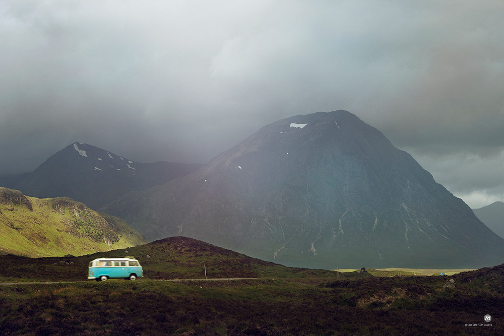 Camper van on the road in Scottish Highlands, Scotland © Masterfile