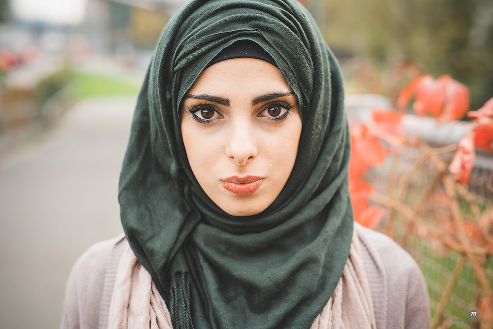 Portrait of young woman wearing hijab © Masterfile