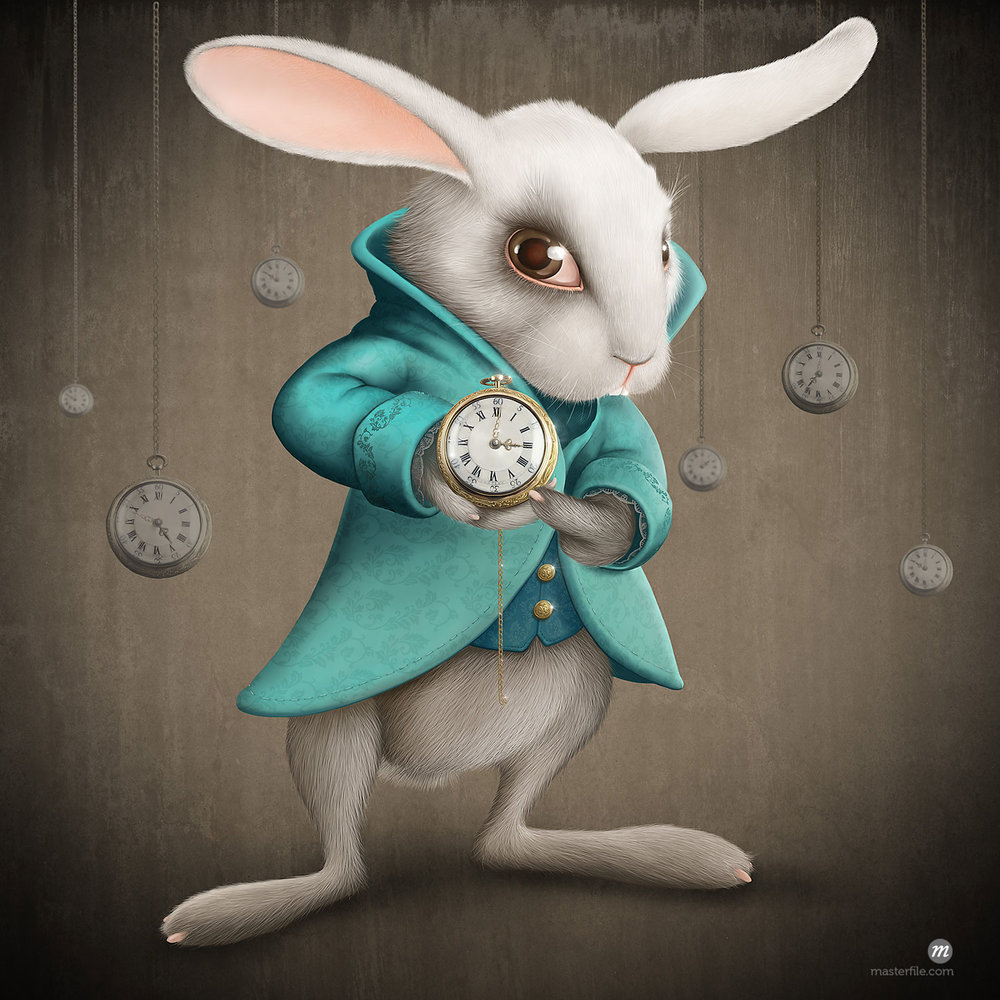 Illustration of white rabbit showing pocketwatch  © jordygraph / Masterfile