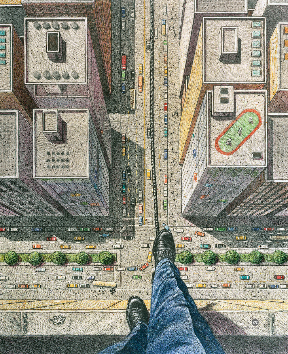 Businessman Walking Tightrope over City Streets (Illustration) © Thomas Dannenberg / Masterfile