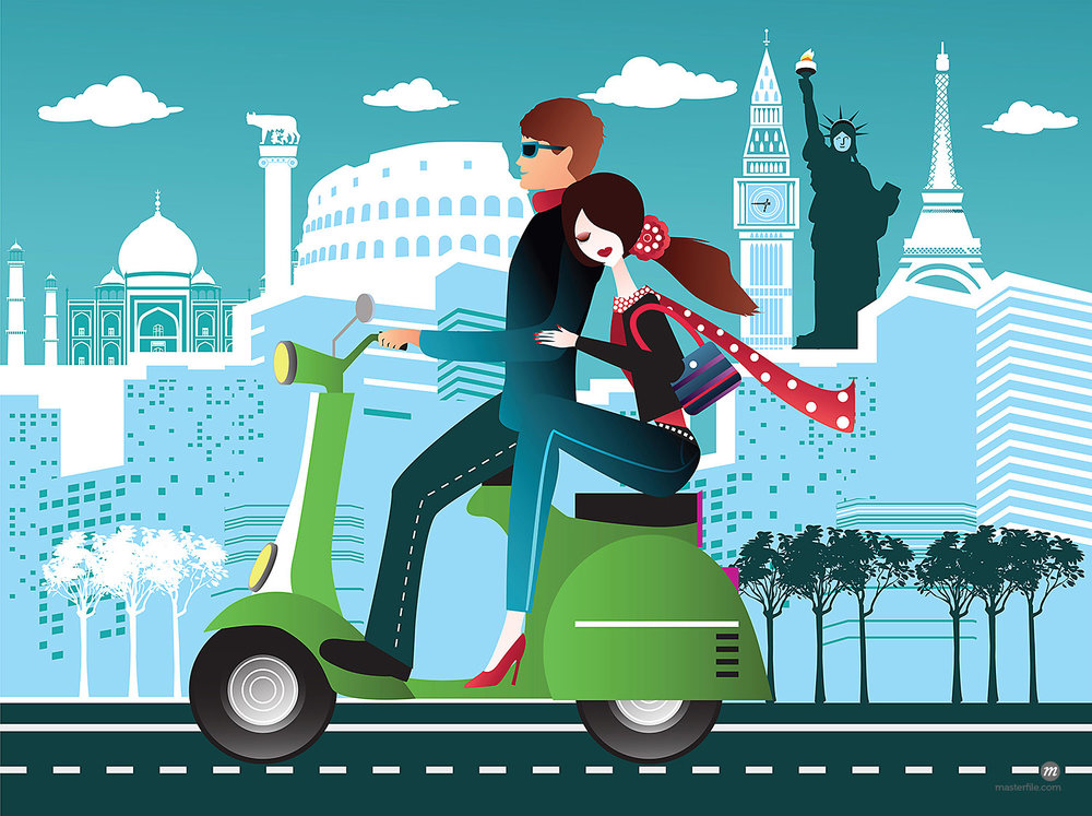 Couple riding a scooter with international tourist attractions in the background  © Masterfile