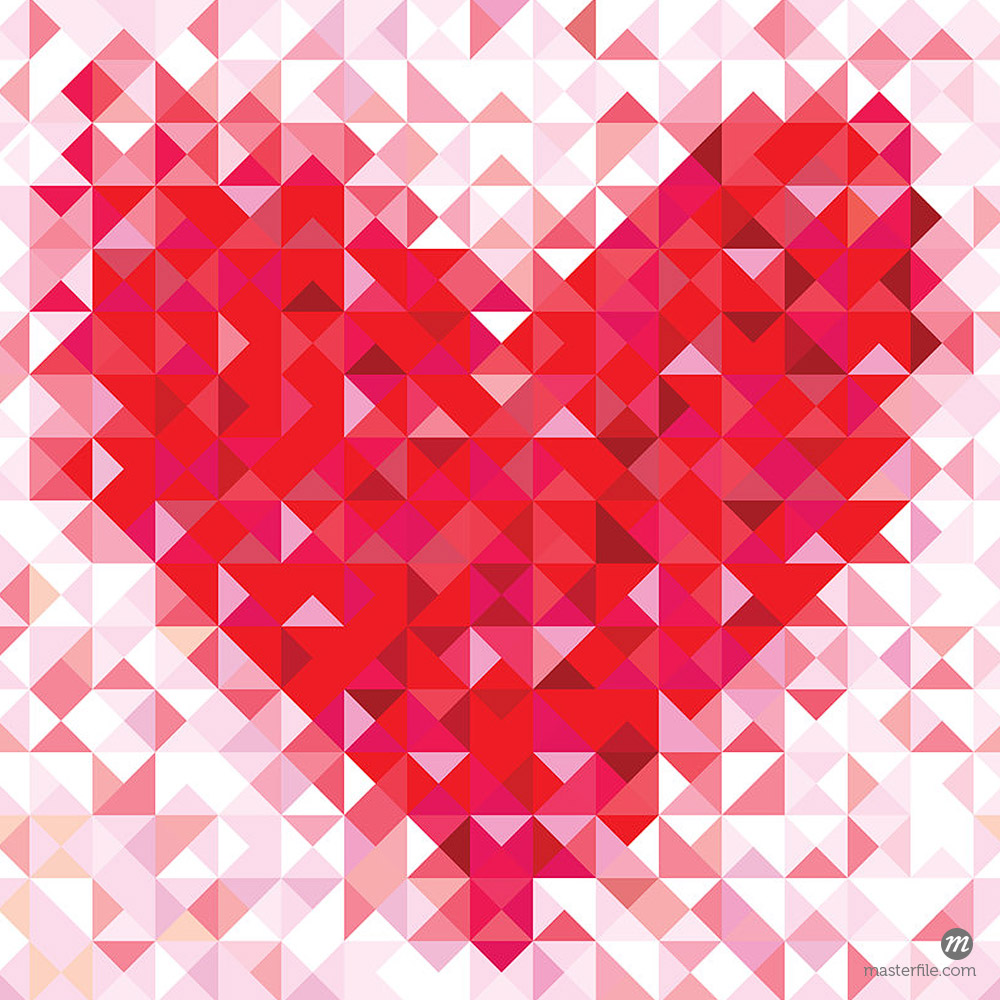 Seamless love pattern with geometric heart © Masterfile