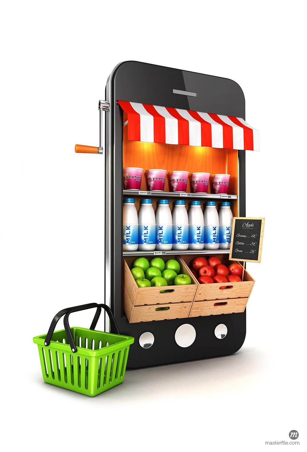 3d supermarket smartphone © 3dmask / Masterfile