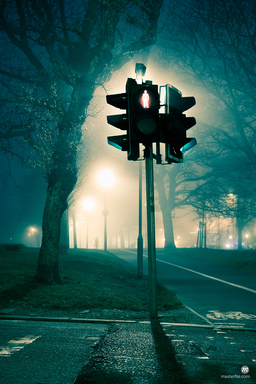 Traffic Light at Night, Edinburgh, Scotland, UK © Tim Hurst /Masterfile