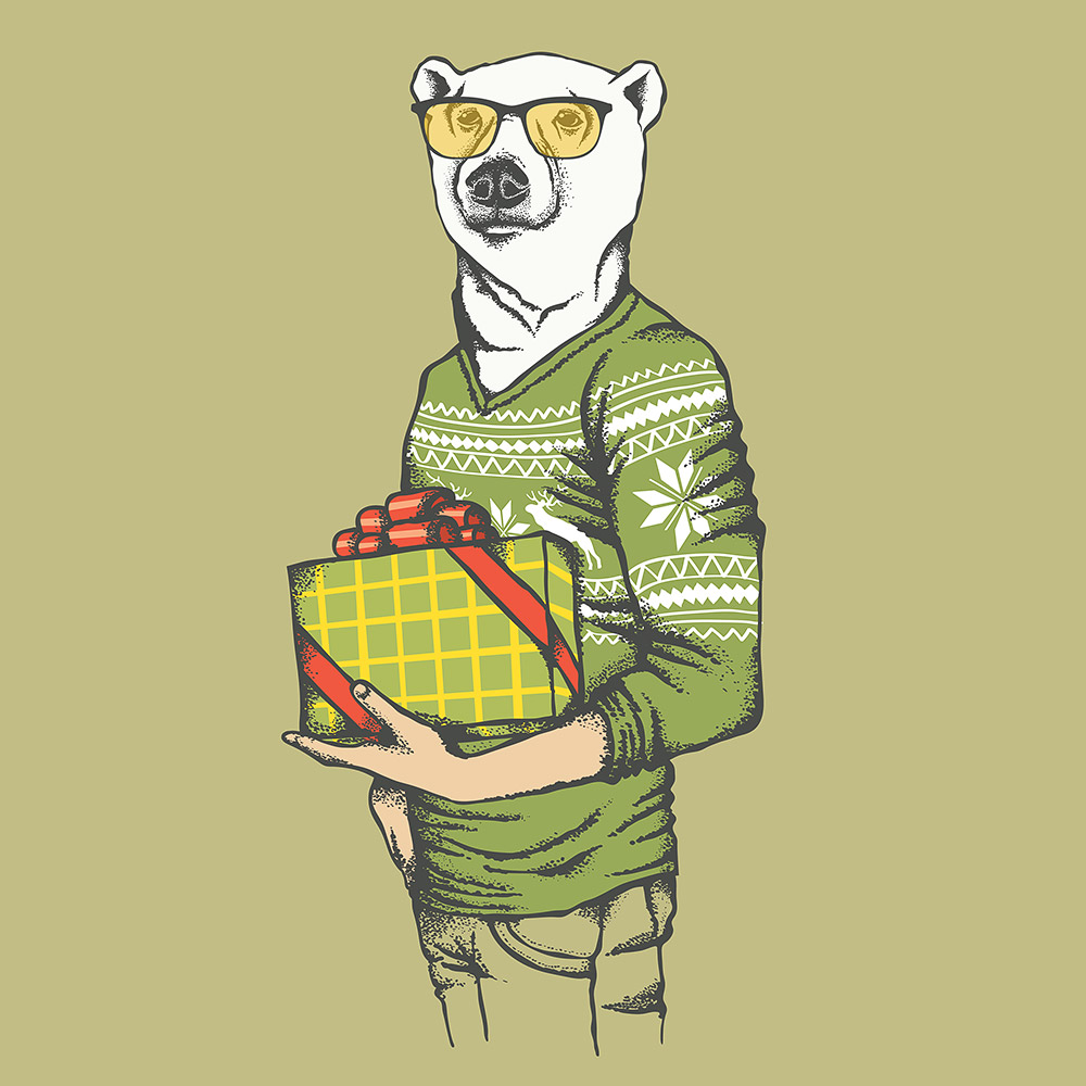 White polar bear in human sweatshirt © leedsn / Masterfile