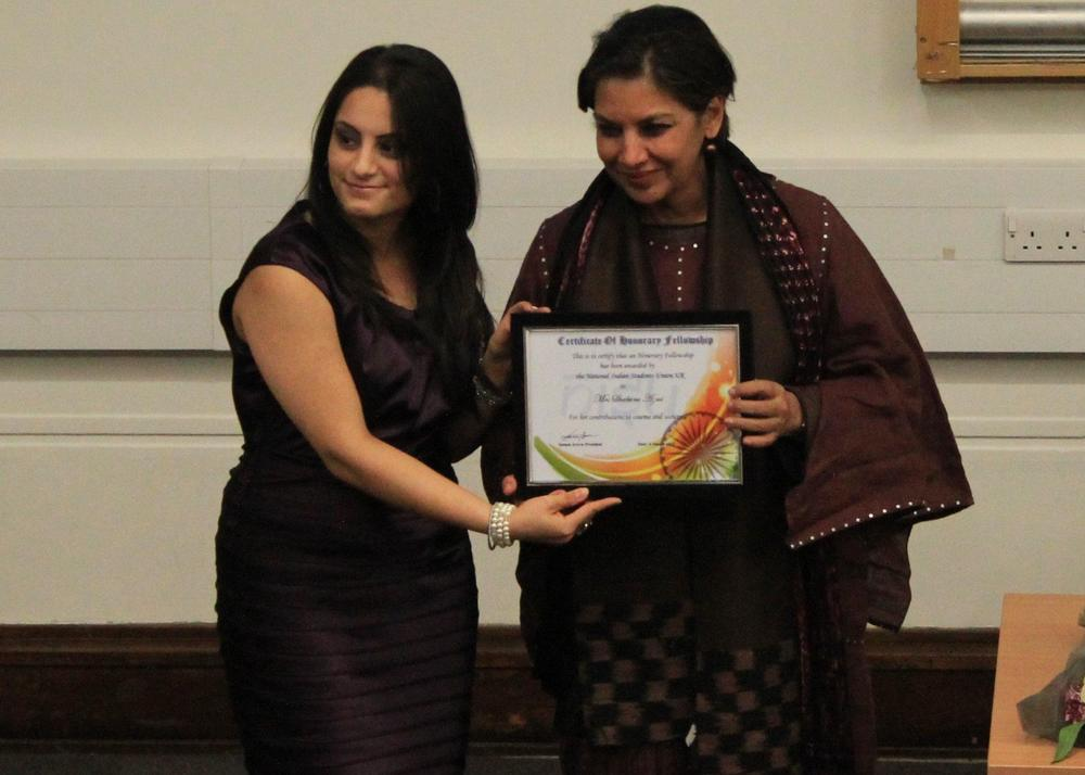 NISU UK President, Sanam Arora with Shabana Azmi