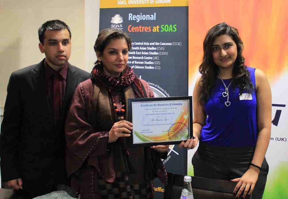 Shabana Azmi with NISU UK students