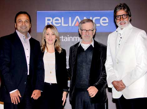 Spielberg with Ambani and Bachchan