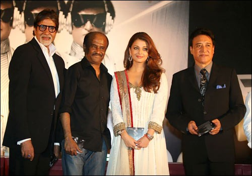 Amitabh Bachchan and Rajnikanth with the former's daughter in law Aishwarya Rai Bachchan and Danny Dezongpa.