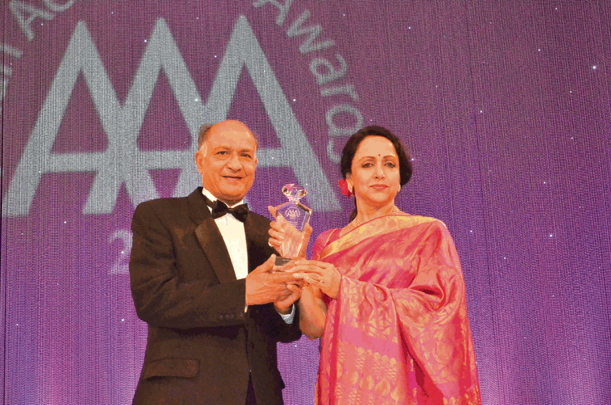 Actress Hema Malini and C.B. Patel, Chairman, ABPL Group at the Asian Achievers Awards 2012