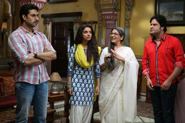 Asin-Abhishek in a scene from Bol Bachchan