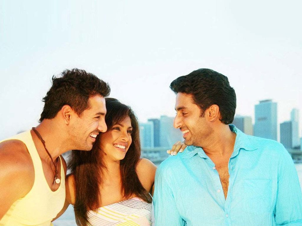 Friendship : Bollywood stars  Abhishek Bachchan ,  Priyanka Chopra  and  John Abraham   join forces in the 2008 movie ' Dostana ' (दोस्ताना)