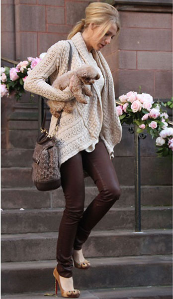 Blake Lively in J Brand in New York, Nov 2011