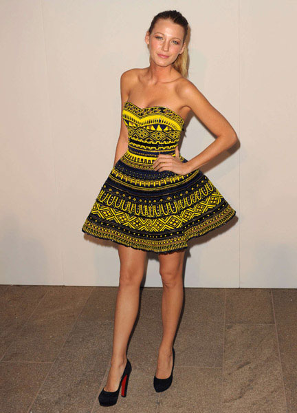 Blake Lively in Marchesa at at Fashion's Night Out, Sept 2010