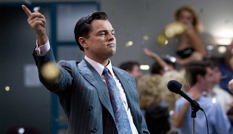 DiCaprio in  T  he Wolf of Wall Street