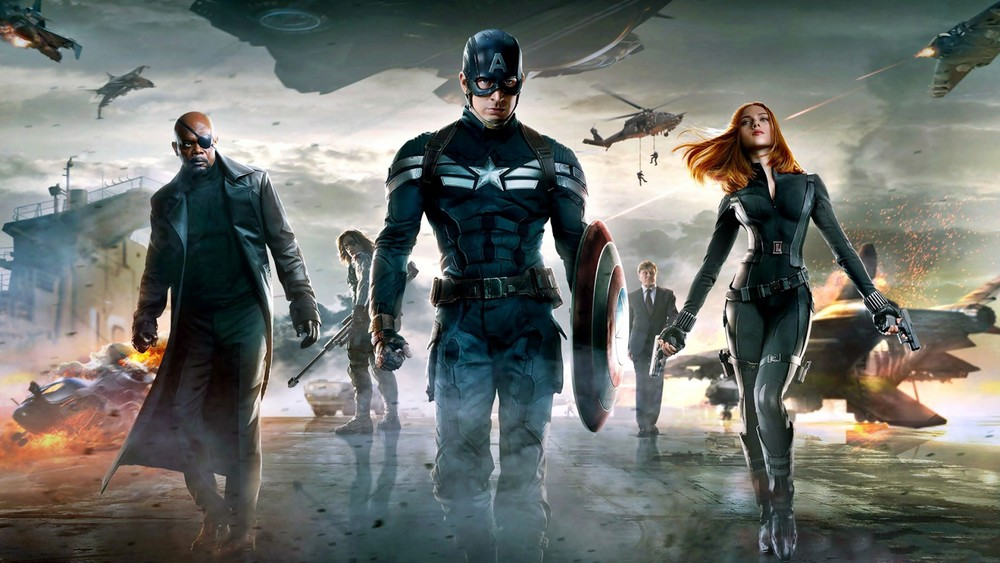 Samuel L Jackson, Chris Evans and Scarlett Johansson in Captain America: The Winter Soldier