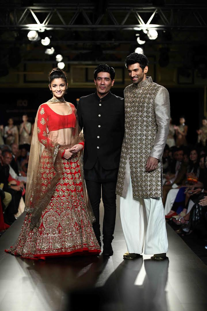 Manish Malhotra with actors Alia Bhatt and Aditya Roy Kapur