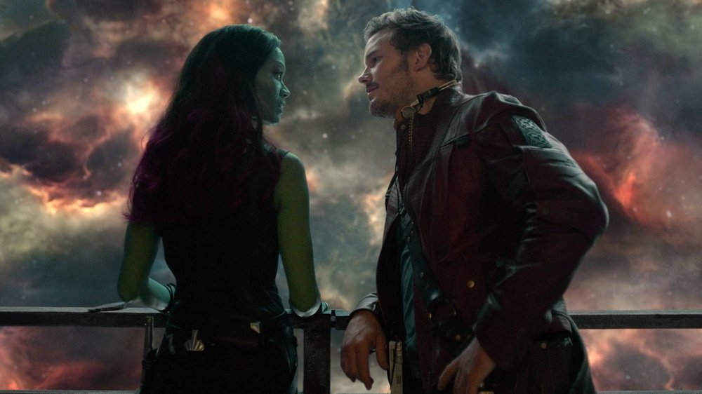 Pratt and Saldana in Guardians Of The Galaxy Vol.2