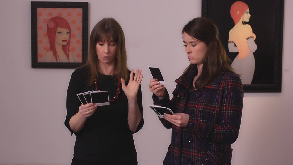 Laraine Newman and Cody Lindquist are impressed with the many boob polaroids they have to choose from .