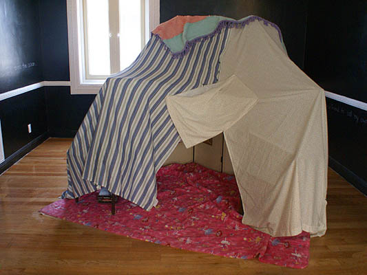 Fortress      2009, interactive tent made of chairs and sheets, audio recorder