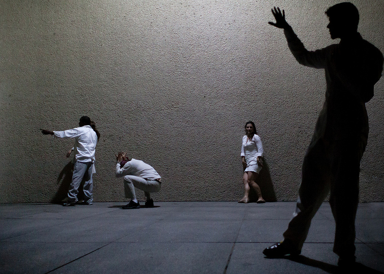 Holly Bass,  Dance 1 , photo documentation of live performance, 2012, a guerilla performance with 30 non-professional volunteers.