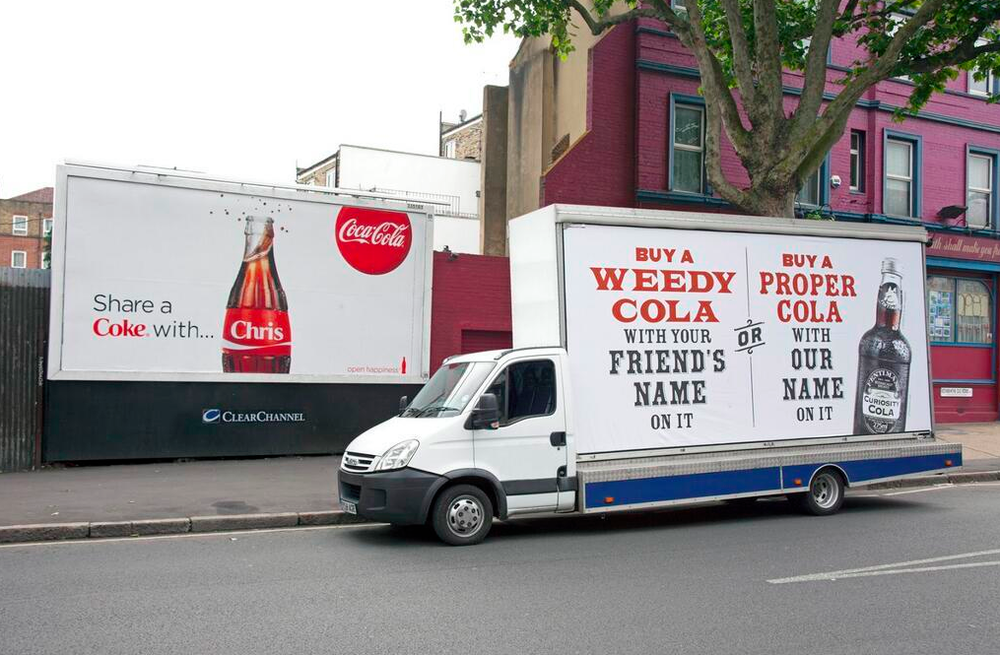 seen  by    Em  Mathews  ‏ @   on Twitter, great bit of ambient media for Fentimans cola.