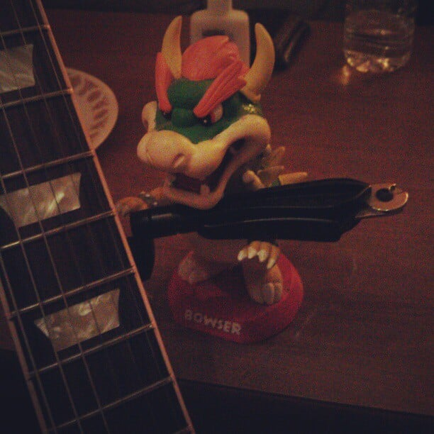 As our new guitar tech, bowser's getting to work on stringing up some guitars. #bowsertuesdays