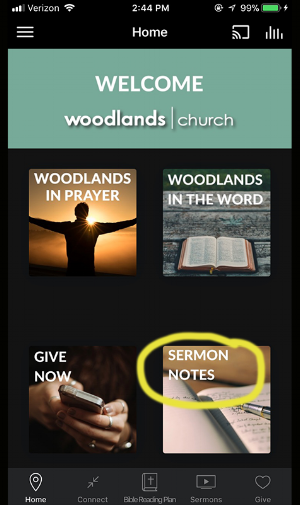 "1. Select the ""Sermon Notes"" icon"