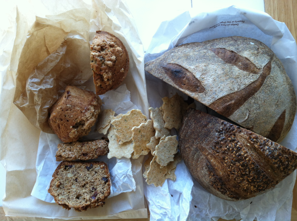 A collection of goods from   Biltmore Coffee Roasters  ,   West End bakery  ,   Flat Rock Village Bakery   and   Wildflour Bakery   featuring Carolina Ground flour.