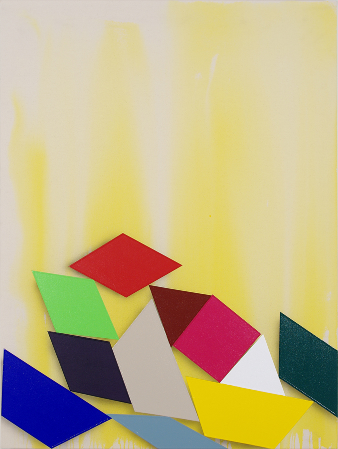"Shapes (yellow) ,   acrylic on canvas  40"" x 30""  2011"