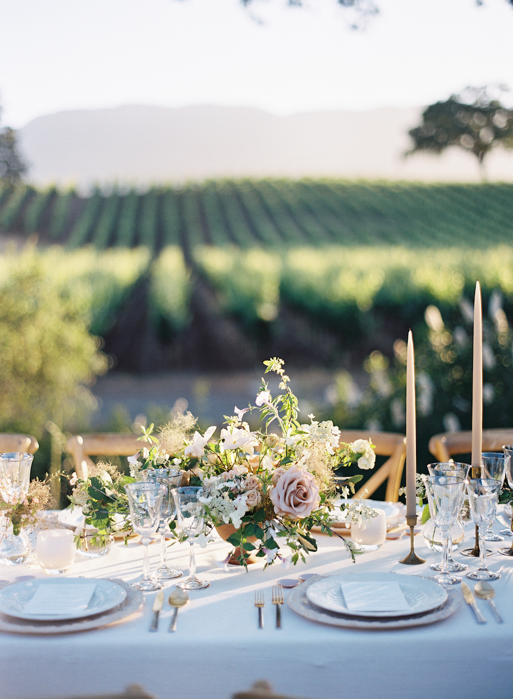 Golden Napa Valley light crawling across a magical al fresco tablescape set in a vineyard.  Photo by Eric Kelley.  Event Design by Jenny Schneider Events and Laurie Arons Special Events.