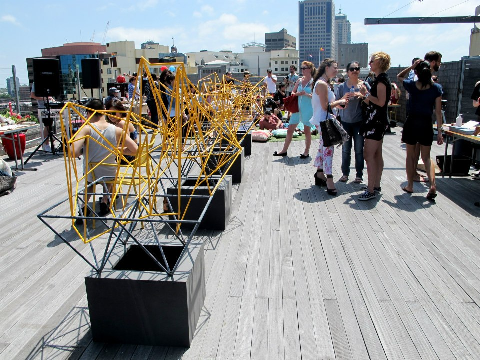 Art installation at The Quadrangle Rooftop Market, Sydney, 2013. Image courtesy The Quadrangle (facebook).