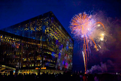 Harpa with Culture Night closing fireworks. Image -http://www.austurhofn.is