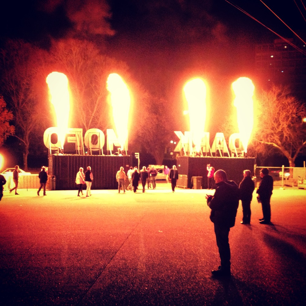 Dark Mofo welcome gates. Image courtesy of John O'Callaghan.