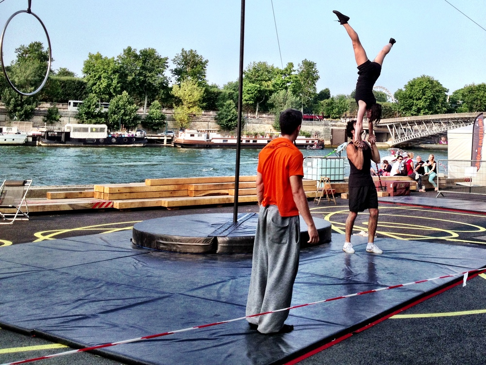 Académie Fratellini' School of Circus Arts practicing by the river