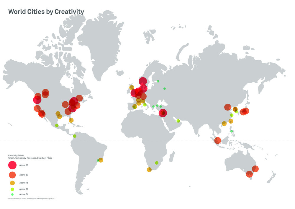 The world's most creative cities (Source information: University of Toronto).