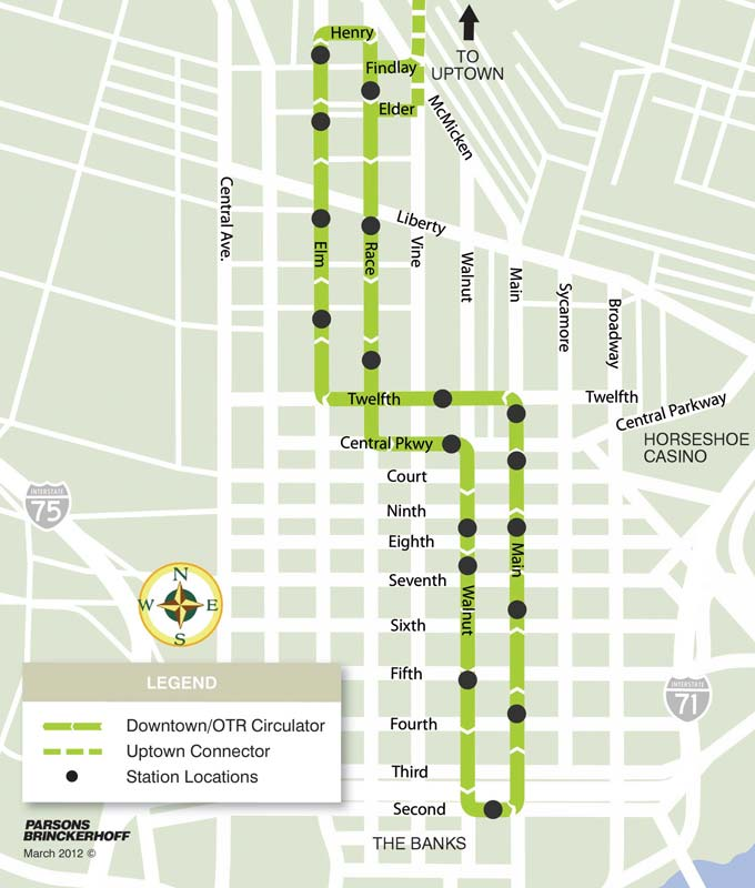 The 3.6 mile streetcar route that is now built, connecting downtown with the Over-the-Rhine neighbourhood.