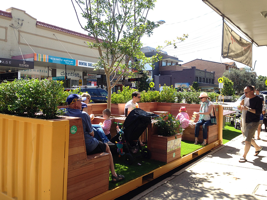 The portable parklet on Clovelly Road, its initial home, for Park to Pacific's Better Block demonstration. Source: Park to Pacific