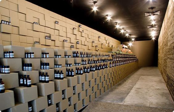 Aesop product boxes, easily reconfigurable and re-useable, designed to display products in an Aesop retail outlet. © Aesop