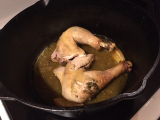 1) Check Done-ness  When the breast reads 165 degrees F, remove the legs. Take the bird onto a cutting board, and cut along the thigh where the leg connects to the bird. When you get down to the bone, cut the joint between the thigh and the body while pulling back on the drumstick. Put the legs back into the cast iron/grill/oven/stovetop until they too read 165 degrees.