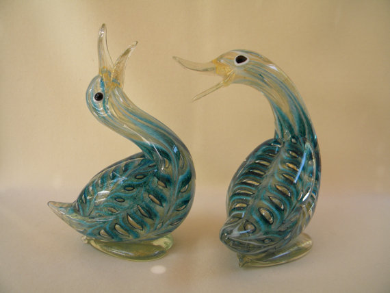 Barovier + Toso Murano Glass Ducks | via :: etsy