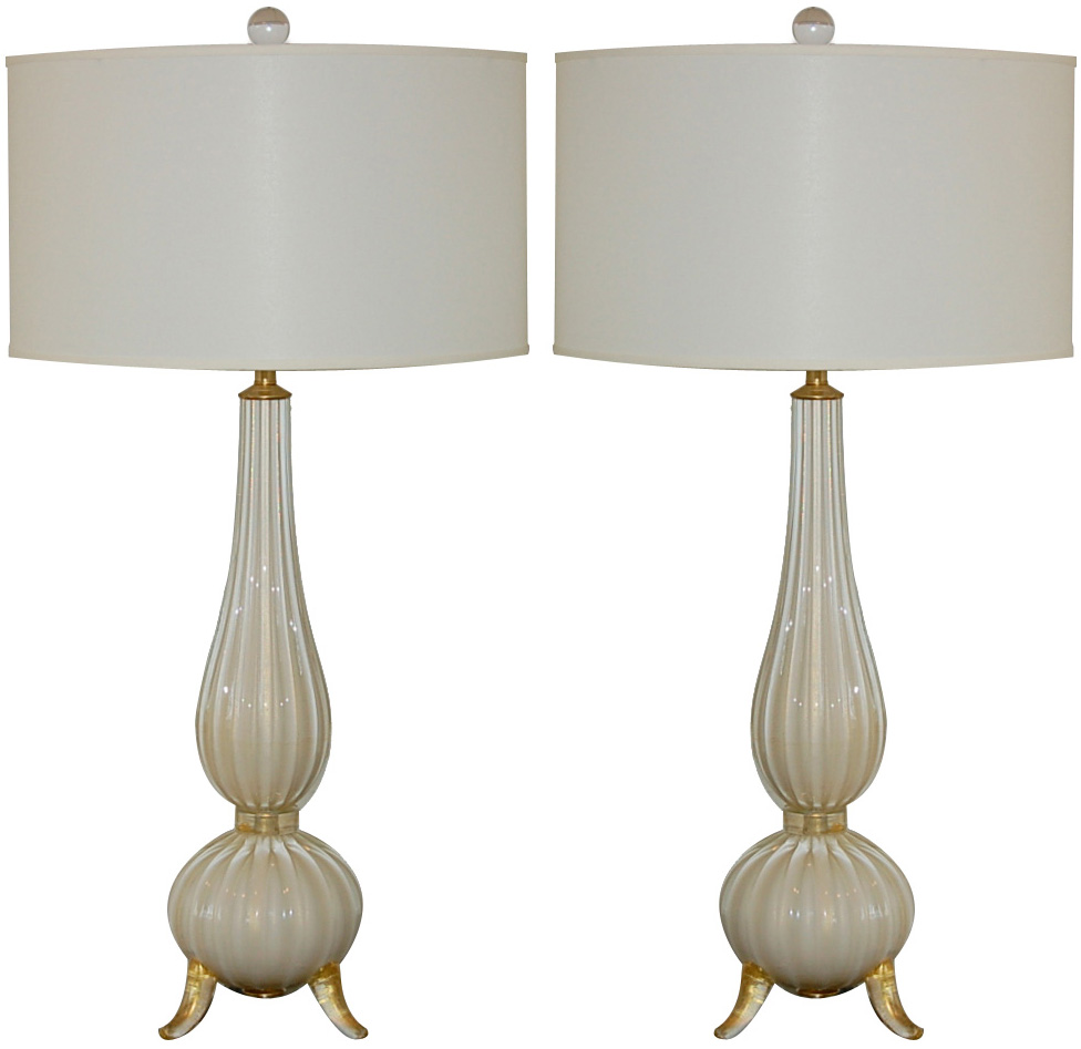 Classic Three Footed Vintage Murano Lamps in Creamy White and Gold | via :: Swank Lighting